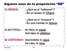 """ALGUNOS USOS DE LA PREPOSICIÓN """"DE"""""""