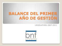 BALANCE DEL PRIMER AÑO DE GESTIÓN