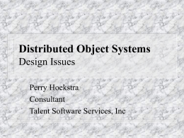 Distributed Systems Design Issues