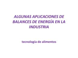 ALGUNAS APLICACIONES DE BALANCES DE ENERGÍA EN LA