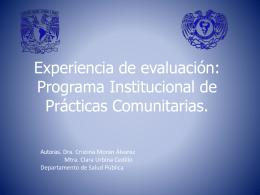 Experiencia de evaluación: Programa institucional