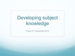 Developing subject knowledge