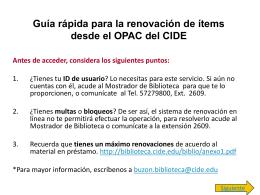 Guía para la consulta del catálogo en línea (OPAC)