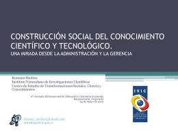 CONSTRUCCIÓN SOCIAL DEL CONOCIMIENTO CIENTÍFICO Y