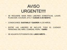 AVISO URGENTE!!!!