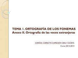 TEMA 1. LA NORMA. ORTOGRAFÍA DE LOS FONEMAS, DE LA