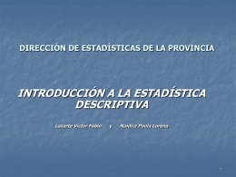 DIRECCIÓN DE ESTADÍSTICAS DE LA PROVINCIA