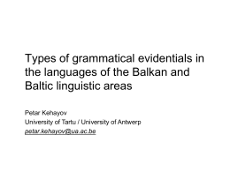 Types of grammatical evidentials in the languages