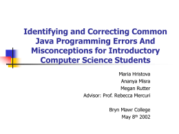 Identifying and Correcting Common Java Programming