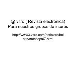@ vitro ( Revista electrónica) Para nuestros