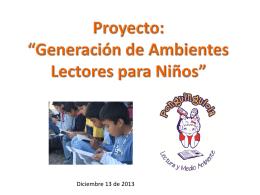Proyecto: Generación de Ambientes Lectores para