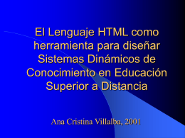 El Lenguaje HTML como herramienta para diseñar