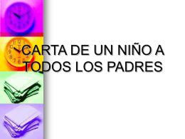 CARTA DE UN NIÑO A TODOS LOS PADRES
