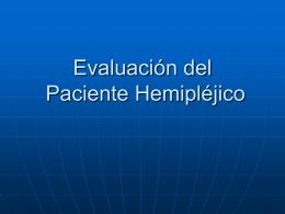 Evaluación Paciente Hemipléjico