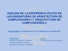 ANÁLISIS DE LA EXPERIENCIA PILOTO EN LAS