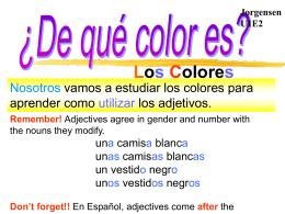 A ¿De qué color es? Mi bolígrafo es rojo. Mi