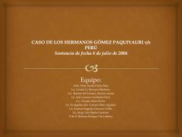 CASO DE LOS HERMANOS GÓMEZ PAQUIYAURI v/s PERÚ