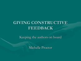 Constructive Feedback - Cochrane Collaboration