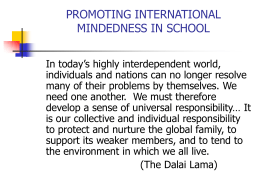 PROMOTING INTERNATIONAL MINDEDNESS IN THE KOÇ