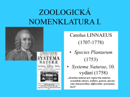 ZOOLOGICKÁ NOMENKLATURA I.