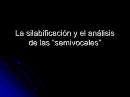 La silabificación y el análisis de las