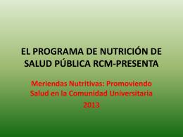 EL PROGRAMA DE NUTRICIÓN DE SALUD PÚBLICA