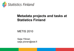 Metadata projects and tasks at Statistics Finland