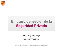 Seguridad Privada: Situación y perspectivas Prof.