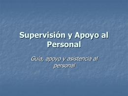 Supervisión y Apoyo al Personal