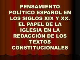 PENSAMIENTO POLÍTICO ESPAÑOL EN LOS SIGLOS XIX Y