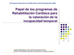 Papel de los programas de Rehabilitación Cardiaca