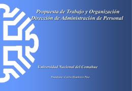 Propuesta de Trabajo y Organización Dirección de