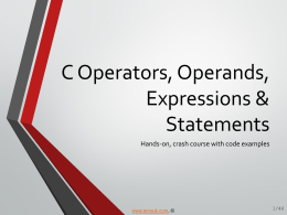 C Programming ppt slides, PDF on C operators,