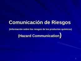 Comunicación de Riesgos (Información sobre los