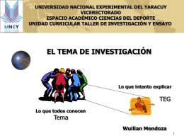 EL TEMA DE INVESTIGACIÓN