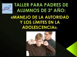 TALLER PARA PADRES DE ALUMNOS DE 3º AÑO: