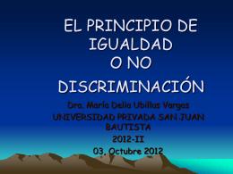 EL PRINCIPIO DE IGUALDAD O NO DISCRIMINACIÓN