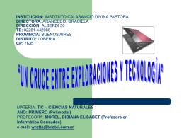 INSTITUCIÓN: INSTITUTO CALASANCIO DIVINA PASTORA