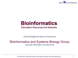 Bioinformatics information resources and networks