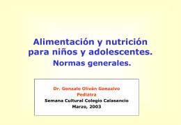 Alimentación y nutrición para niños y