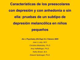CARACTERÍSTICAS DE LOS PREESCOLARES CON DEPRESIÓN
