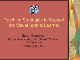 Teaching Strategies for the Visual Spatial Learner