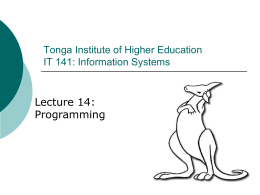 Information Systems 1: IT 141