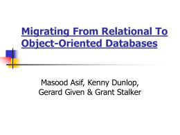Migrating From Relational To Object