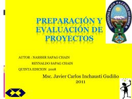 PREPARACIÓN Y AVALUACIÓN DE PROYECTOS
