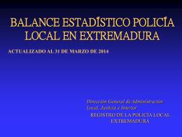 BALANCE ESTADÍSTICO POLICÍA LOCAL EN EXTREMADURA