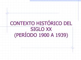 CONTEXTO HISTÓRICO DEL SIGLO XX (PERÍODO 1900 A