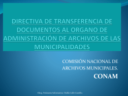 LOS ÓRGANOS DE ADMINISTRACIÓN DE ARCHIVOS EN LAS