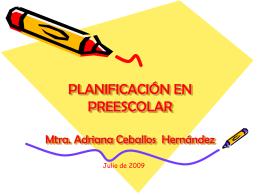 PLANIFICACIÓN EN PREESCOLAR