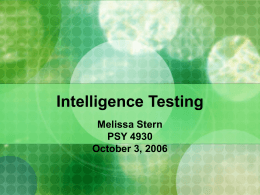 Intelligence Testing - University of Florida